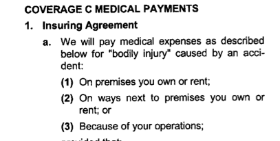 Medical Payments coverage Commercial General Liability insurance policy injury accident