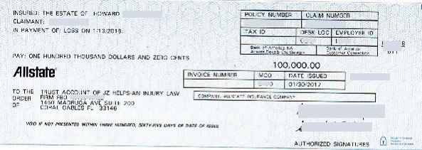 $100k Allstate settlement check info redacted