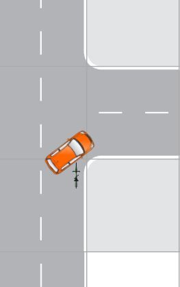 Diagram of bike rider heading straight down a street. Car traveling in the same direction attempt to make a right hand turn. The bicyclist crashes into the side of the car.
