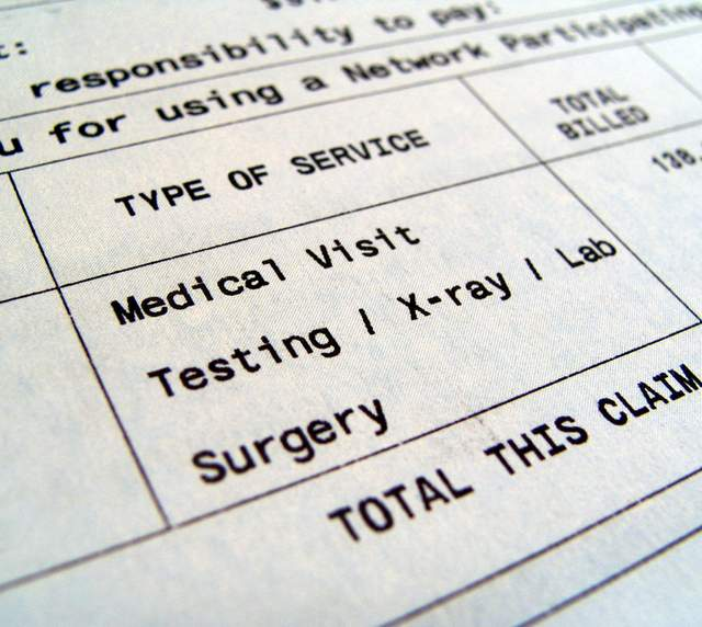Bill for Medical Visit, Testing, X-ray, Lab, Surgery
