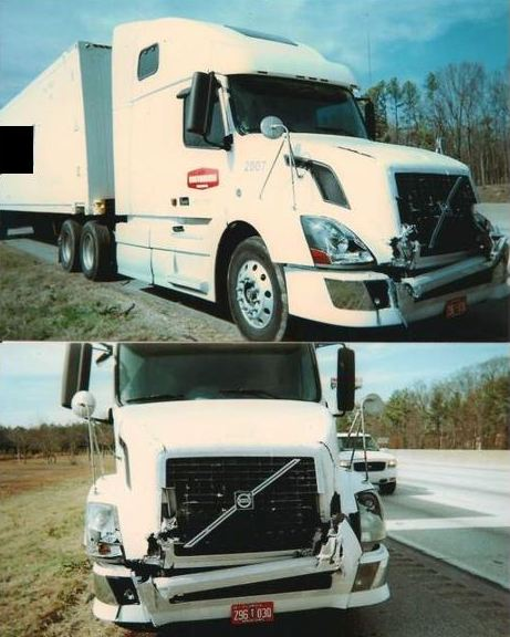 Front end damage to tractor-trailer (18 wheeler)