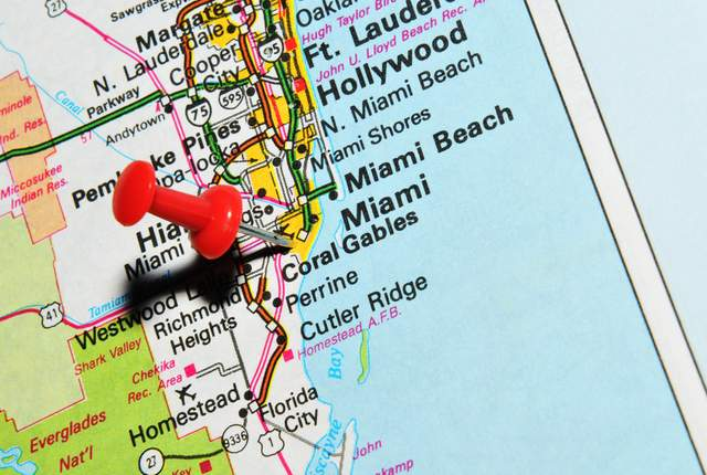 Map of South Florida. Coral Gables.