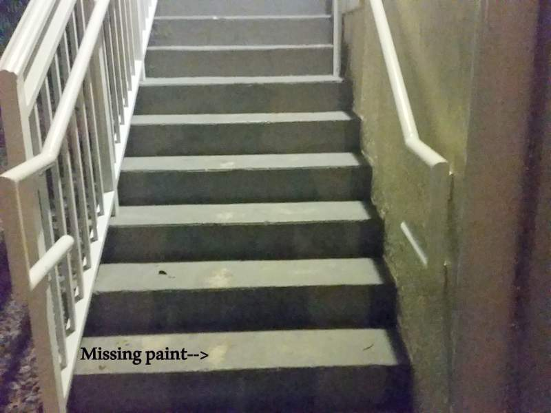 Steps on a staircase at a Pinecrest, Miami-Dade County, Florida condominium may cause a slip and fall.