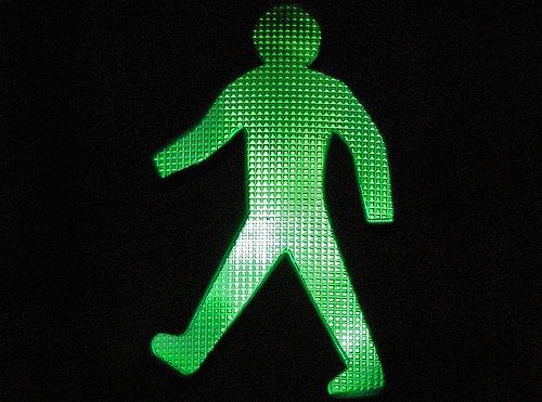 Pedestrian walking sign.