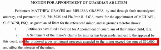 over 50K settlement - motion appoint guardian ad litem
