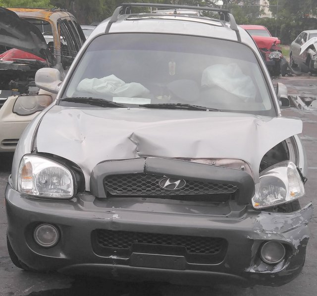 Damage to front of car after an accident