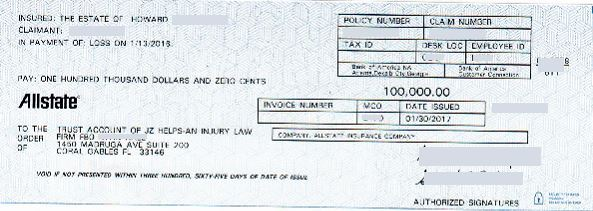$100k Allstate car accident personal injury settlement check