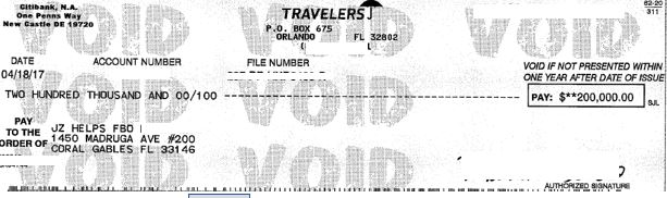 $200k Travelers insurance settlement check