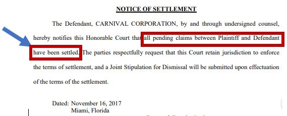 Notice of Settlement - Cosmo v Carnival