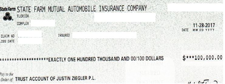 State Farm $100k check bodily injury liability