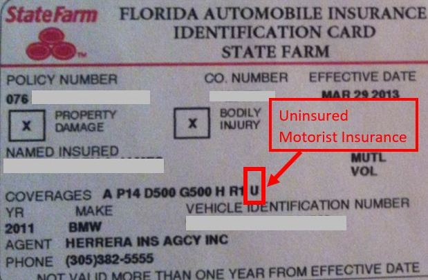 "State Farm insurance card showing uninsured motorist insurance letter ""U"""