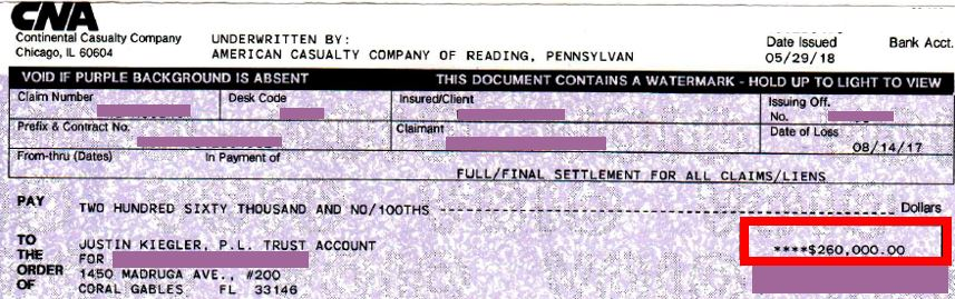 CNA (American Casualty Company of Reading, Pennsylvania) settlement check for $260K for personal injury claim