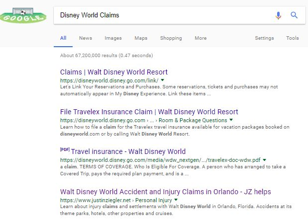 Disney Claims - google search result