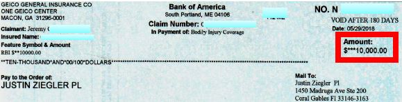 GEICO $10K settlement check for bodily injury liability insurance coverage