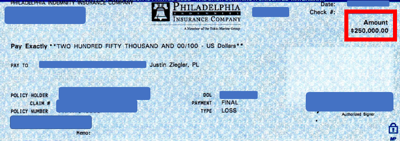 $250K personal injury settlement check from Philadelphia Insurance Companies (Philadelphia Indemnity)