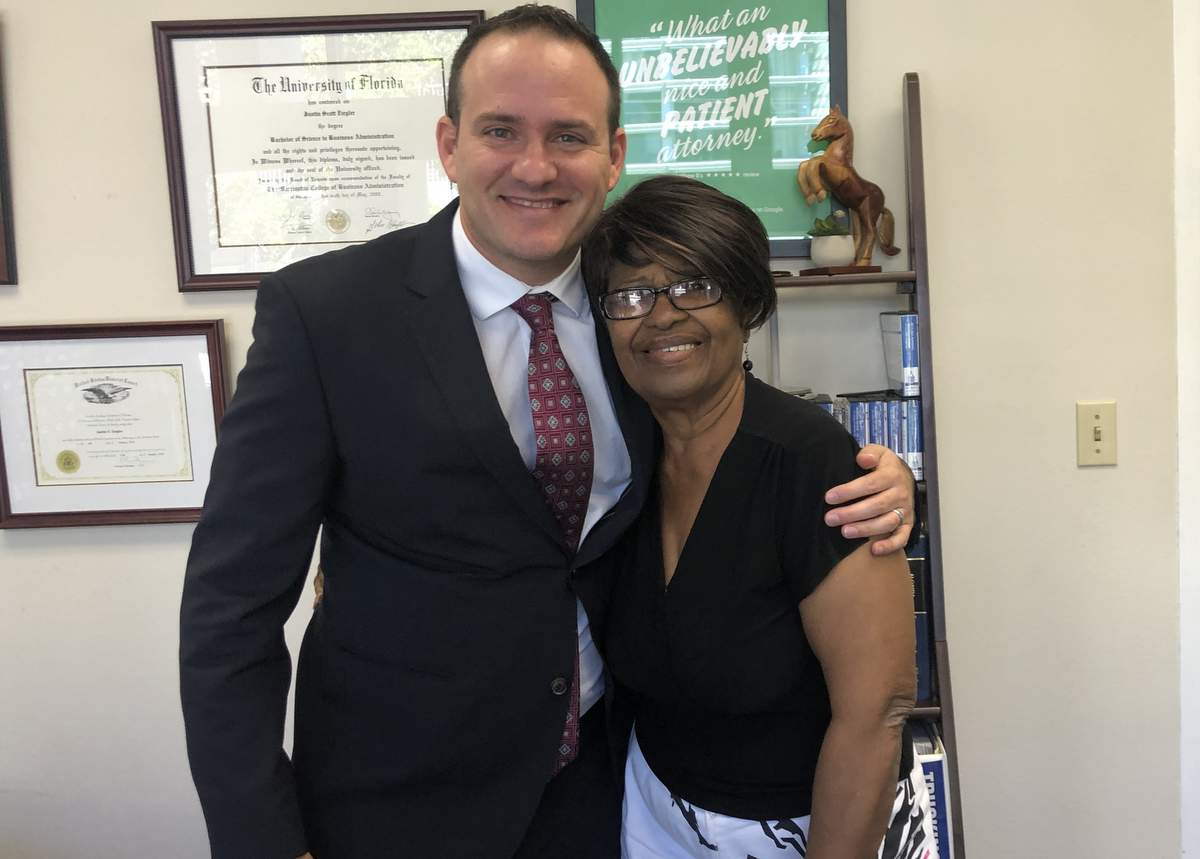 Attorney Justin 'JZ' Ziegler and happy client (pedestrian who was hit by a car)