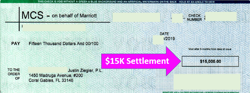 Marriott $15K check payable to Miami slip and fall attorney Justin Ziegler
