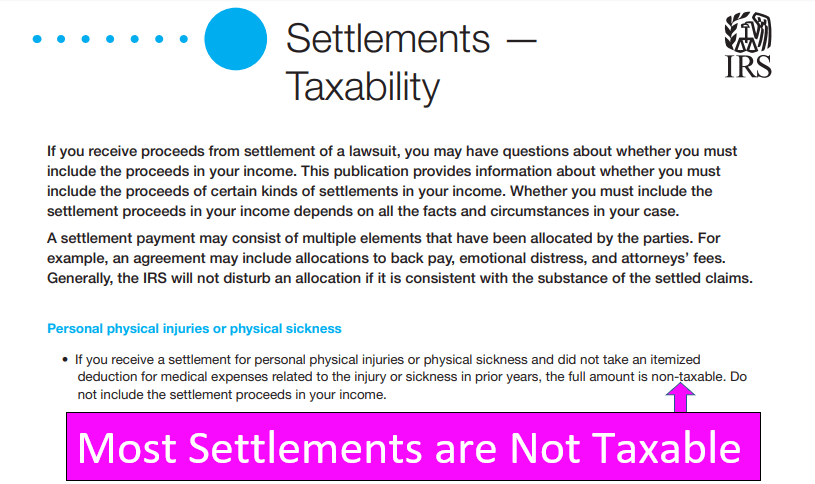 Do you pay taxes on a personal injury settlement, claim or lawsuit?