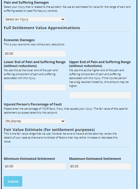 pain and suffering settlement calculator