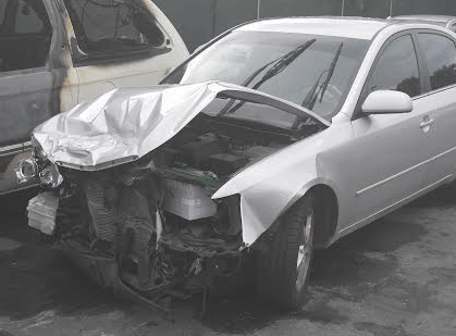 damage to front of car after a crash