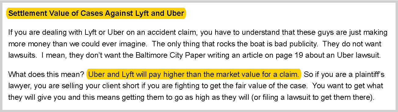 One attorney says that Uber will pay higher than the market value for a claim