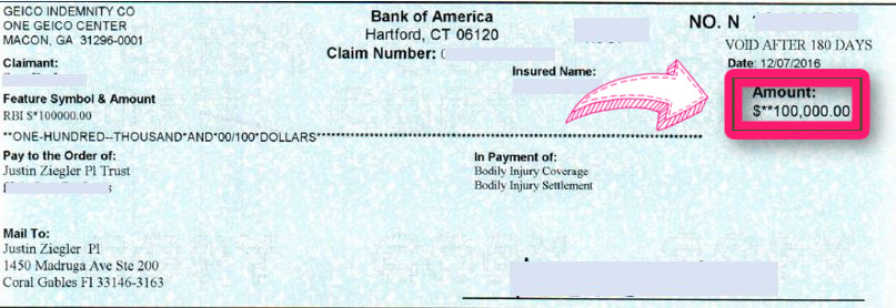 100k GEICO settlement check for nose fracture and herniated disc - redacted