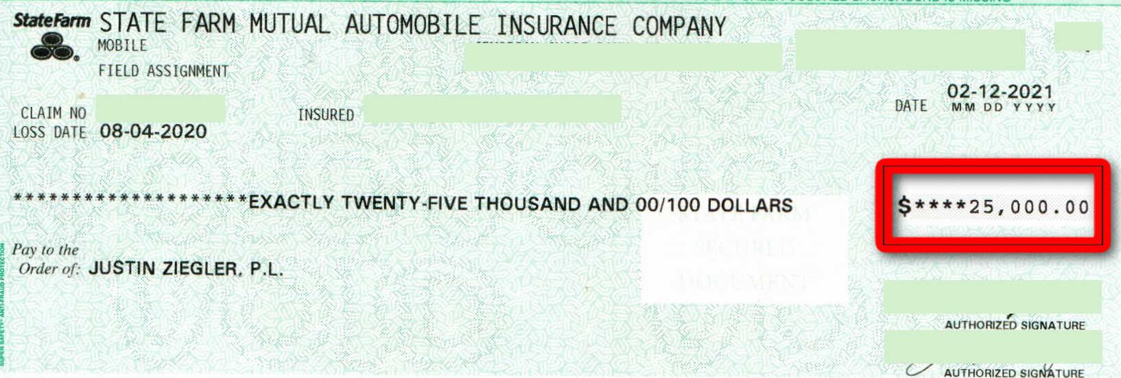 State Farm $25K settlement check