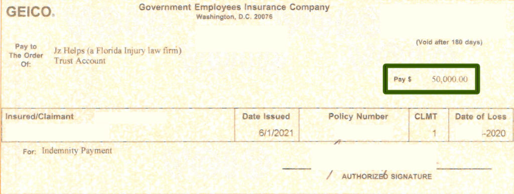 $50k car accident injury settlement check