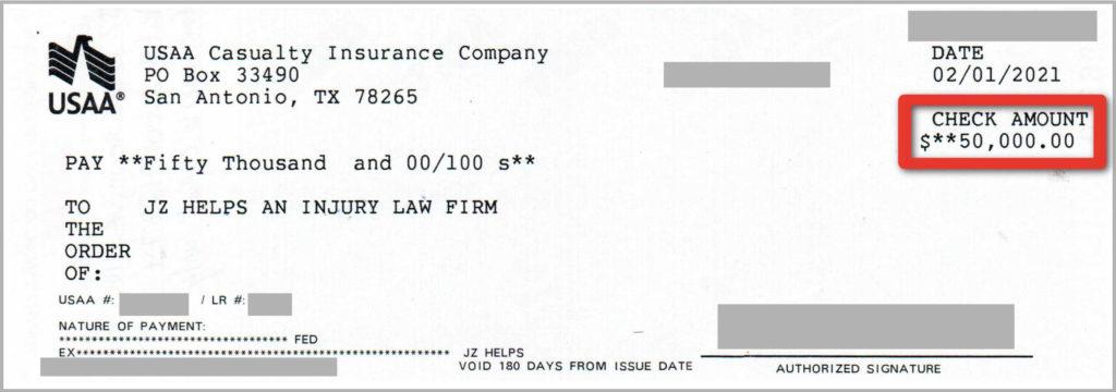 $50K USAA car accident settlement check